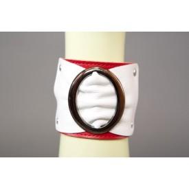 Бело-красный браслет с овальной пряжкой